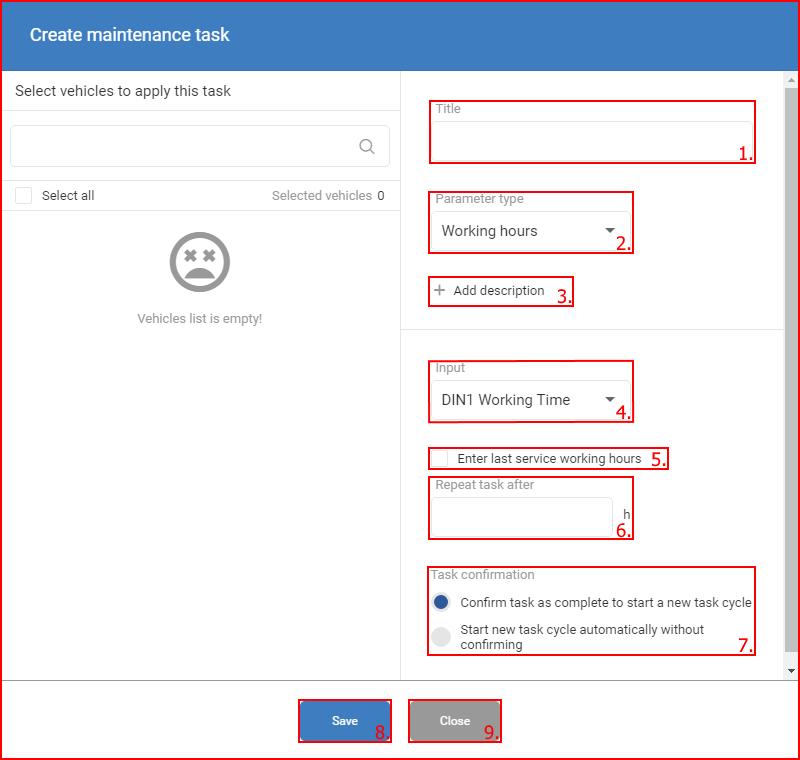 create maintenance task fms documentation